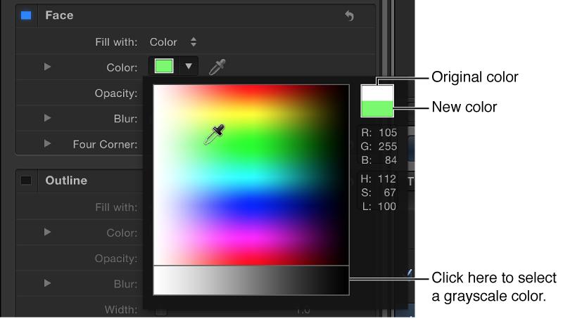 Eingeblendete Farbpalette mit Original- und neuen Farbmustern und Auswahlbereich für Graustufen.