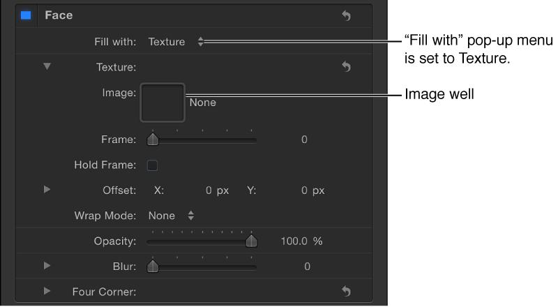 """Informationsfenster """"Text"""" mit dem auf """"Struktur"""" eingestellten Parameter """"Füllen mit"""". Das Bildfeld ist sichtbar."""