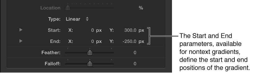 """Parameter """"Start"""" und """"Ende"""" im Verlaufseditor."""