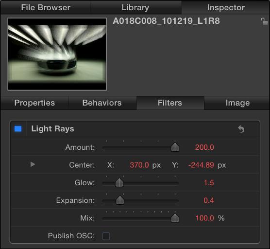 """Informationsfenster """"Filter"""" mit den Einstellungen am Startpunkt."""