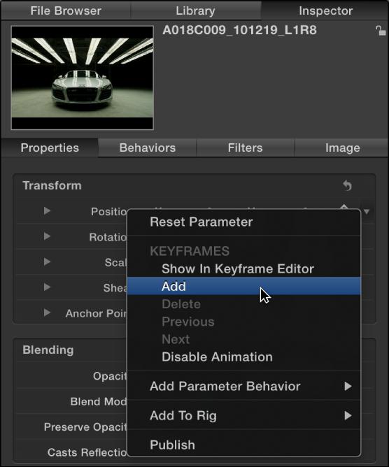 Informationsfenster mit dem Animationsmenü für einen Bildparameter.