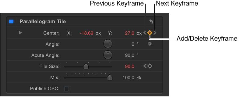 """Informationsfenster mit den Steuerelementen für """"Vorheriger Keyframe"""", """"Keyframe hinzufügen/löschen"""" und """"Nächster Keyframe""""."""