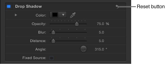 Informationsfenster mit der Taste zum Zurücksetzen des Filters.