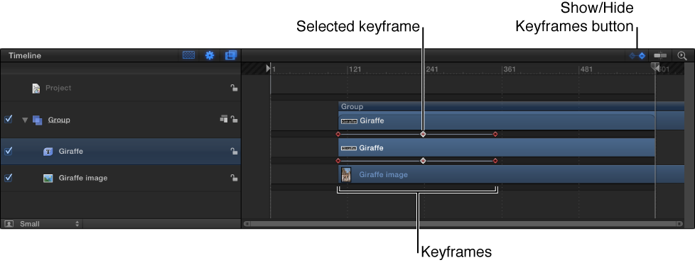 Timeline mit Keyframes.