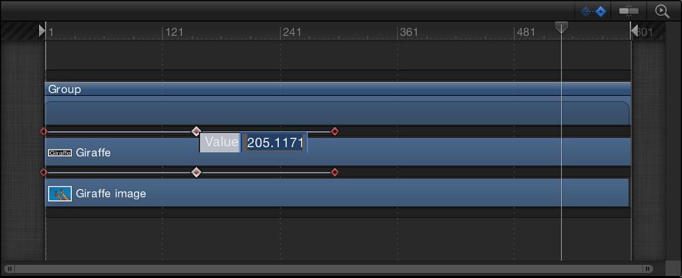 Timeline mit dem Keyframe-Wertefeld.