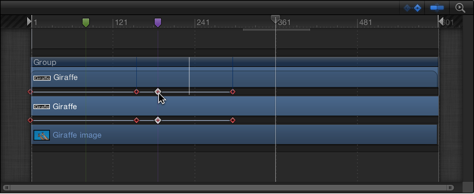 Timeline mit einem Keyframe, der an der Kante eines Objekts einrastet.