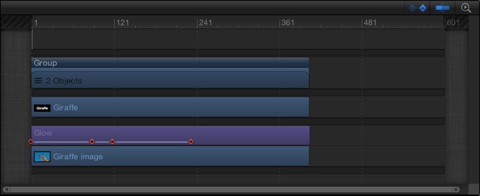 Timeline mit Keyframes auf einer Ebene.