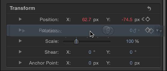 Auswählen eines Parameters im Informationsfenster.