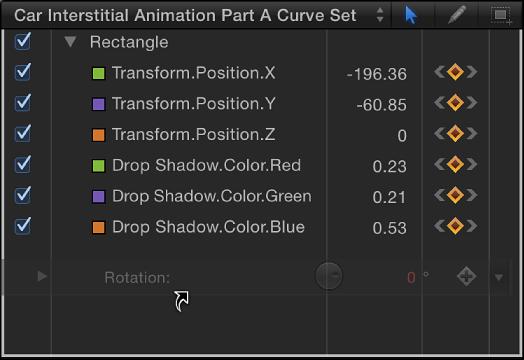 Parameter, der aus dem Informationsfenster in die Parameterliste im Keyframe-Editor bewegt wird.