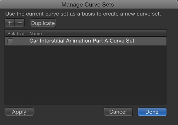 Dialogfenster zum Verwalten von Kurvenreihen.