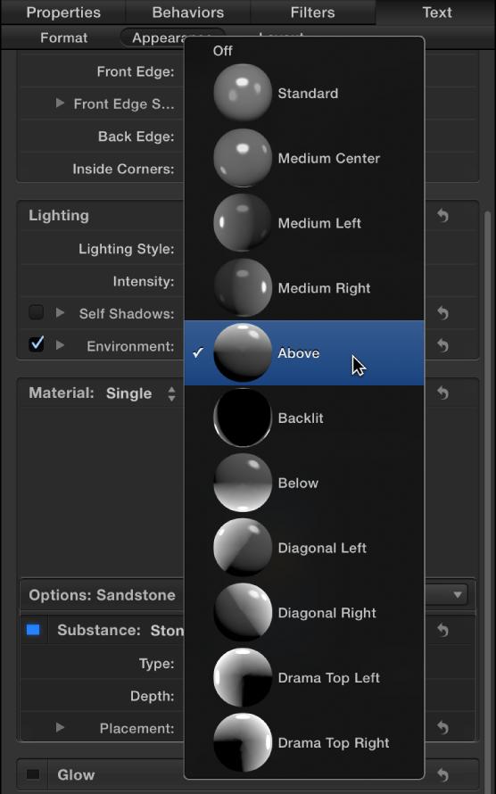 Abbildung. Informationsfenster mit dem Einblendmenü für 3D-Textbeleuchtungsarten.