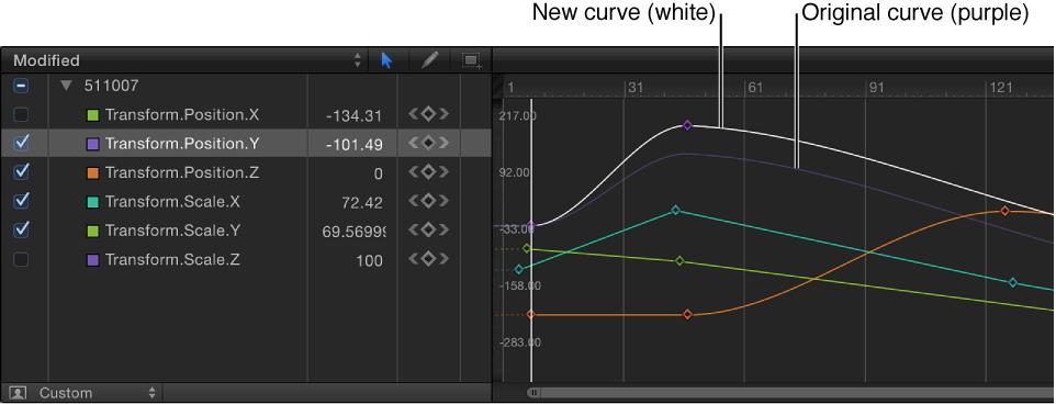 Keyframe-Editor mit einer neuen Kurve, die mit einem Schnappschuss der Kurve verglichen wird.