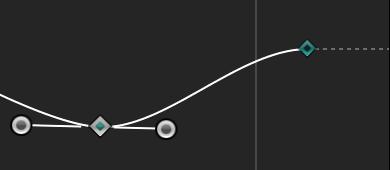 """Kurvensegment, für das als Interpolationsmethode """"Bezier"""" festgelegt wurde."""