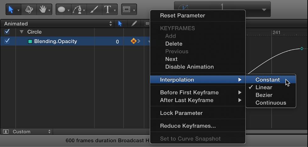 Ändern der Interpolationsmethode für einen vollständigen Parameter mit dem Animationsmenü im Keyframe-Editor.