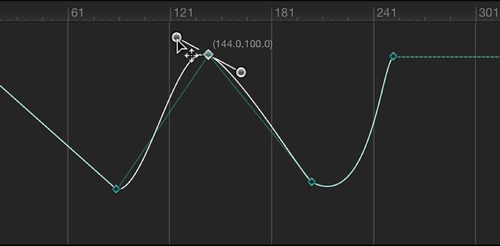Keyframe-Editor mit einem Bezier-Tangentensegment mit eingeschränkter Bewegung.