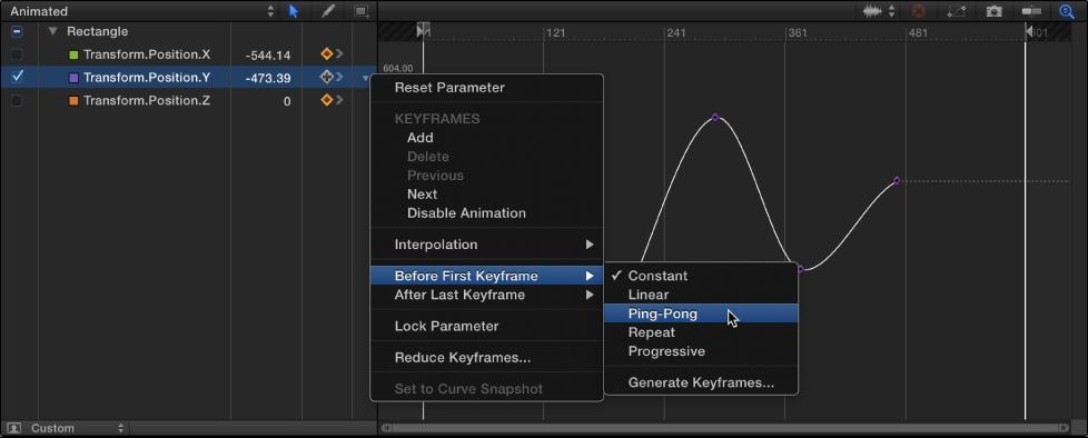 """Keyframe-Editor mit Untermenü """"Vor dem ersten Keyframe"""" des Animationsmenüs."""