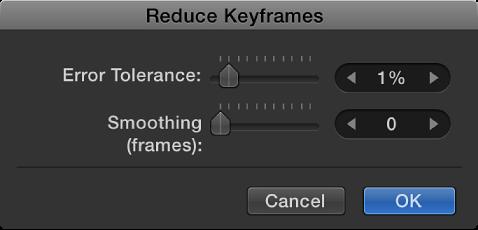 """Dialogfenster """"Keyframes reduzieren""""."""