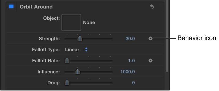 Verhaltenssymbol über der Keyframe-Taste des beeinflussten Parameters.
