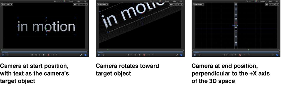 Canvas mit Anzeige der Kamera in der Startposition in Drehung zum Zielobjekt und der Kamera in der Endposition rechtwinklig zur +X-Achse