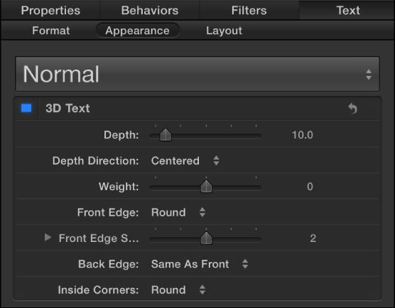 """Steuerelemente für 3D-Text im Bereich """"Erscheinungsbild"""" des Informationsfensters """"Text"""""""