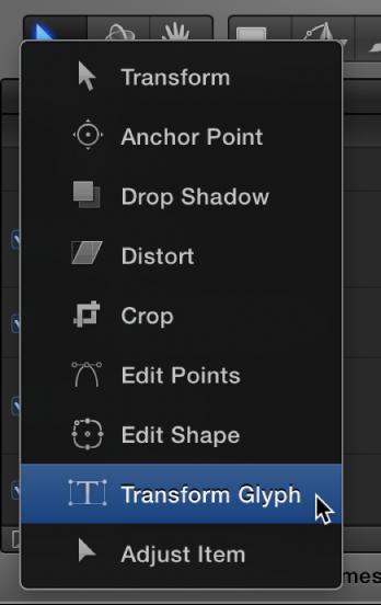 Werkzeug zum Transformieren von Glyphen in der Symbolleiste auswählen.