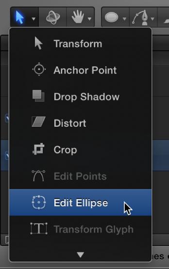 """Auswählen des Werkzeugs """"Ellipse bearbeiten"""" aus dem Einblendmenü für die 2D-Werkzeuge"""