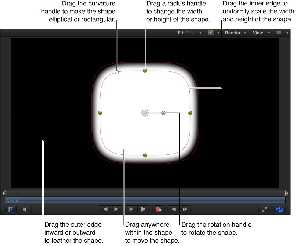 Steuerelemente auf dem Bildschirm, um eine einfache Form zu skalieren, auslaufen zu lassen, die Krümmung anzupassen und zu drehen