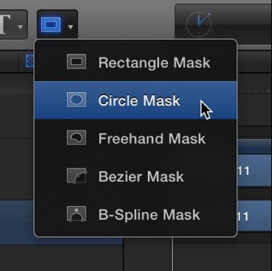 Auswählen des Kreismaske-Werkzeugs aus dem Einblendmenü für die Maskenform-Werkzeuge