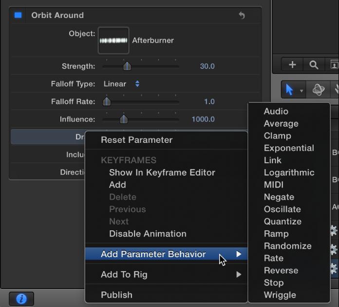 """Hinzufügen eines Verhaltens der Kategorie """"Parameter"""" durch Anklicken eines Parameternamens bei gedrückter Taste """"ctrl"""" im Informationsfenster."""