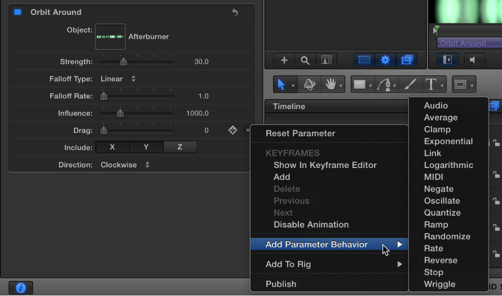 "Untermenü ""Parameter hinzufügen"" im Animationsmenü."