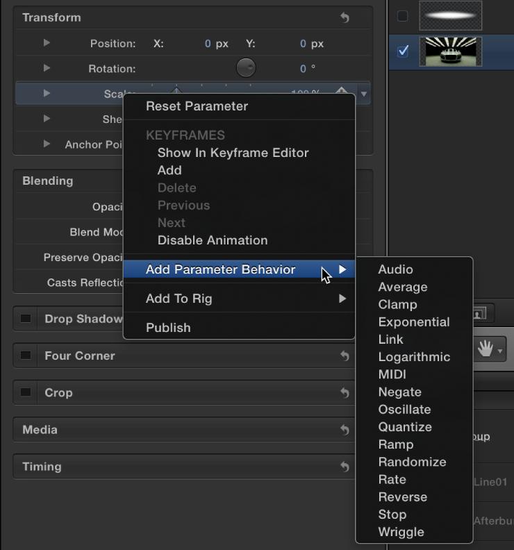"""Auswählen der Option """"Parameter-Verhalten hinzufügen"""" aus dem Kontextmenü des Parameters."""
