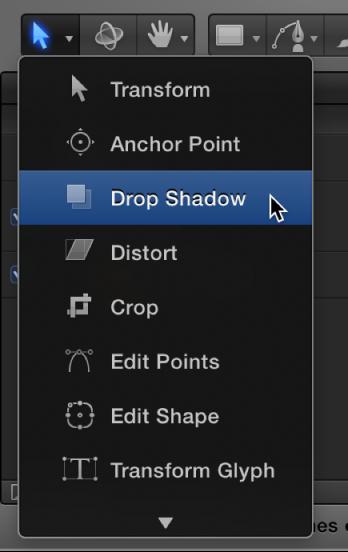 """Werkzeug """"Schattenwurf"""" aus dem Einblendmenü für die 2D-Transformationswerkzeuge auswählen."""