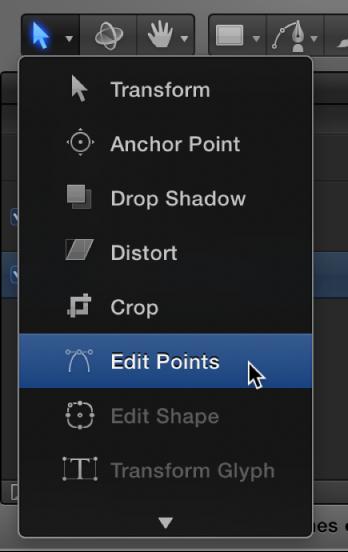 """Werkzeug """"Punkte bearbeiten"""" aus dem Einblendmenü für die 2D-Transformationswerkzeuge auswählen."""