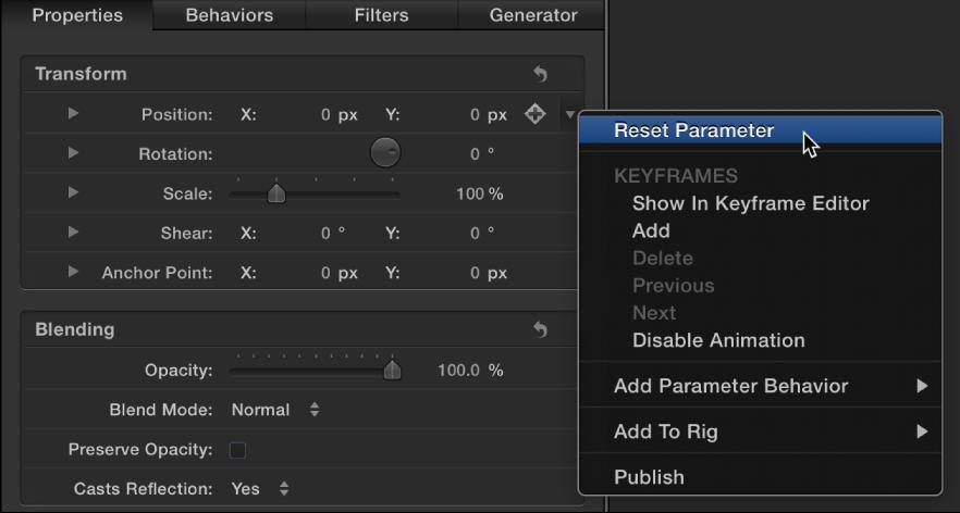"""""""Parameter zurücksetzen"""" im Animationsmenü."""