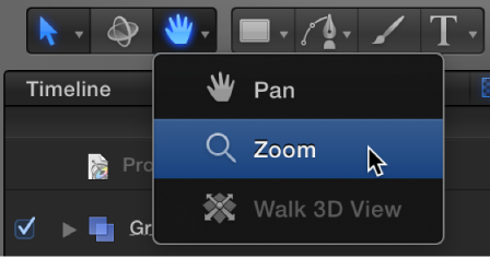 """Werkzeug """"Zoomen"""" aus dem Einblendmenü zum Anzeigen der Werkzeuge auswählen."""