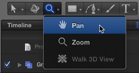 """""""Panorama"""" aus dem Einblendmenü zum Anzeigen der Werkzeuge auswählen."""