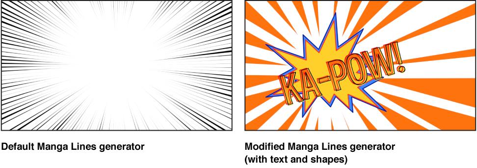 """Canvas mit dem Generator """"Manga-Linien"""" und verschiedenen Einstellungen."""