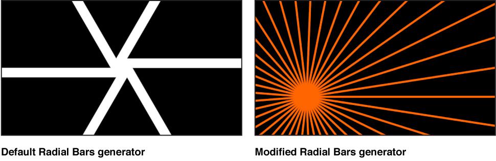 """Canvas mit dem Generator """"Radiale Balken"""" und verschiedenen Einstellungen."""