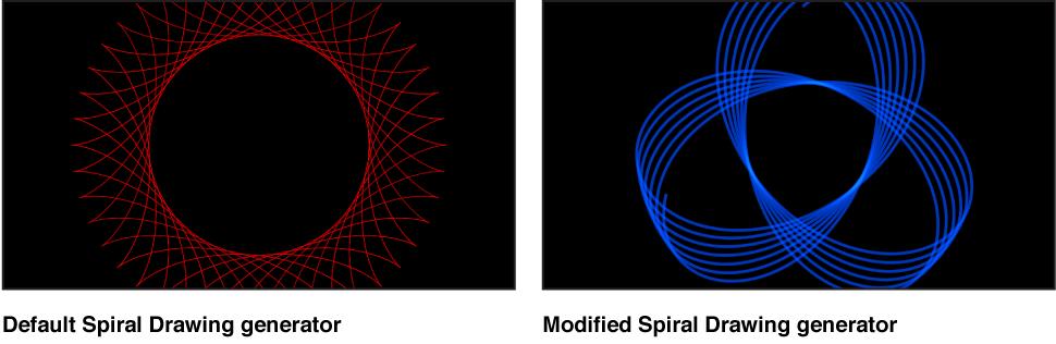 """Canvas mit dem Generator """"Spiralzeichnung"""" und verschiedenen Einstellungen."""