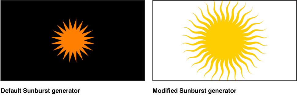 """Canvas mit dem Generator """"Sunburst"""" und verschiedenen Einstellungen."""
