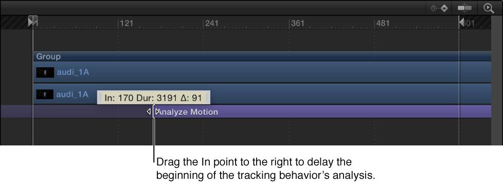 In-Punkt eines Verhaltens in der Timeline anpassen.