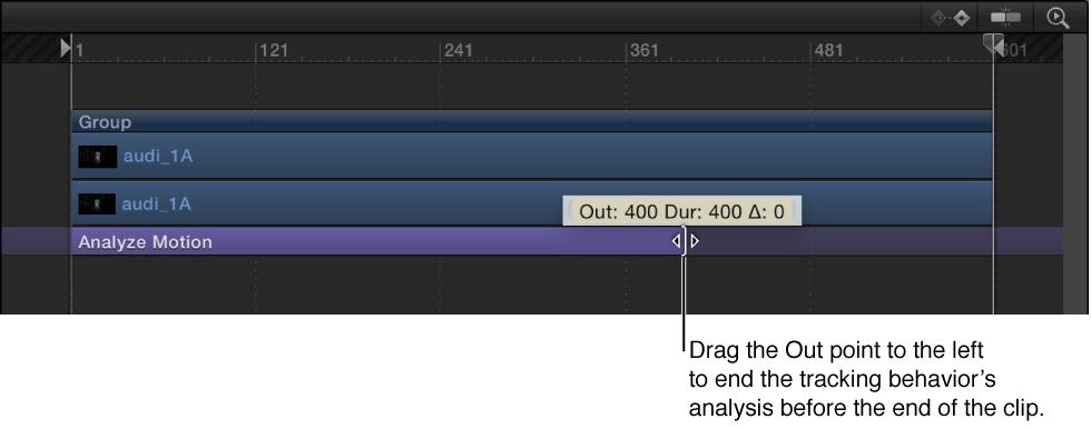 Out-Punkt eines Verhaltens in der Timeline anpassen.