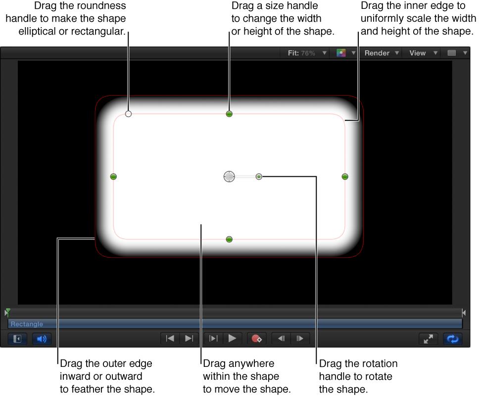 Steuerelemente auf dem Bildschirm, um eine einfache Form zu skalieren, auslaufen zu lassen, die Rundheit anzupassen und zu drehen