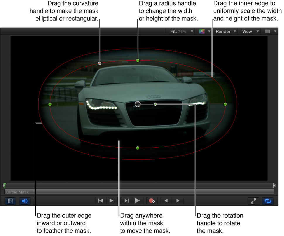 Steuerelemente auf dem Bildschirm, um eine einfache Maske zu skalieren, auslaufen zu lassen, die Krümmung anzupassen und zu drehen