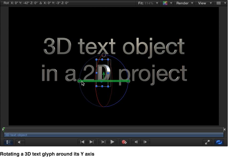 3D-Textglyphe entlang der X-Achse im Canvas drehen.