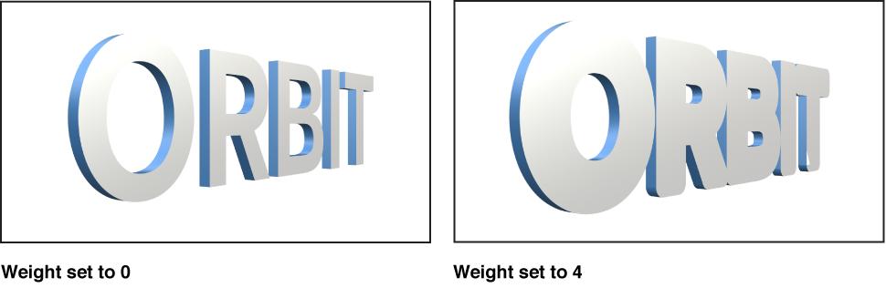 """Canvas mit 3D-Text mit """"Gewicht"""" 0 und 3D-Text mit Gewicht 4."""