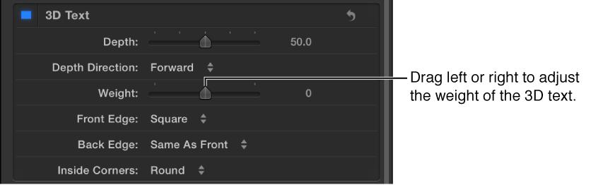 """Bereich """"Erscheinungsbild"""" des Informationsfensters """"Text"""" mit dem Parameter """"Gewicht""""."""
