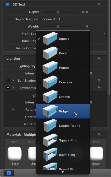 Informationsfenster mit Optionen für die Form der vorderen Kante von 3D-Text.