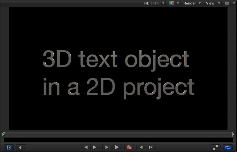Canvas mit einem Beispiel für 3D-Text in einem 2D-Projekt.