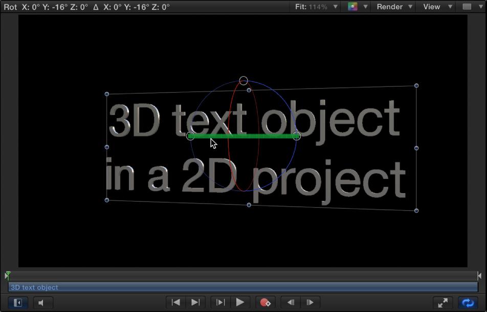 Canvas mit einem Beispiel für gedrehten 3D-Text in einem 3D-Projekt.